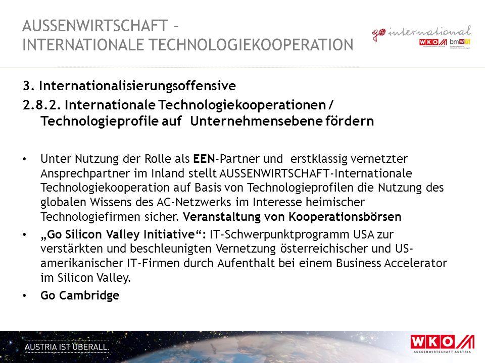 3. Internationalisierungsoffensive 2.8.2. Internationale Technologiekooperationen / Technologieprofile auf Unternehmensebene fördern Unter Nutzung der