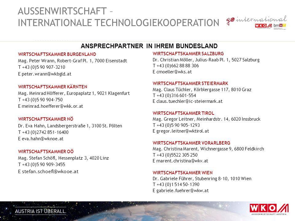 WIRTSCHAFTSKAMMER BURGENLAND Mag. Peter Wrann, Robert-Graf Pl. 1, 7000 Eisenstadt T +43 (0)5 90 907-3210 E peter.wrann@wkbgld.at WIRTSCHAFTSKAMMER KÄR