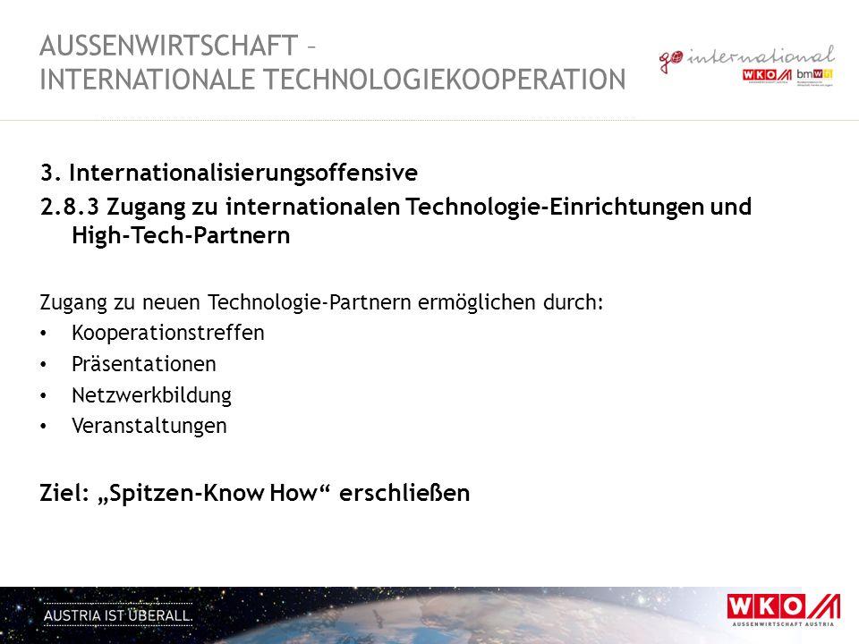 3. Internationalisierungsoffensive 2.8.3 Zugang zu internationalen Technologie-Einrichtungen und High-Tech-Partnern Zugang zu neuen Technologie-Partne