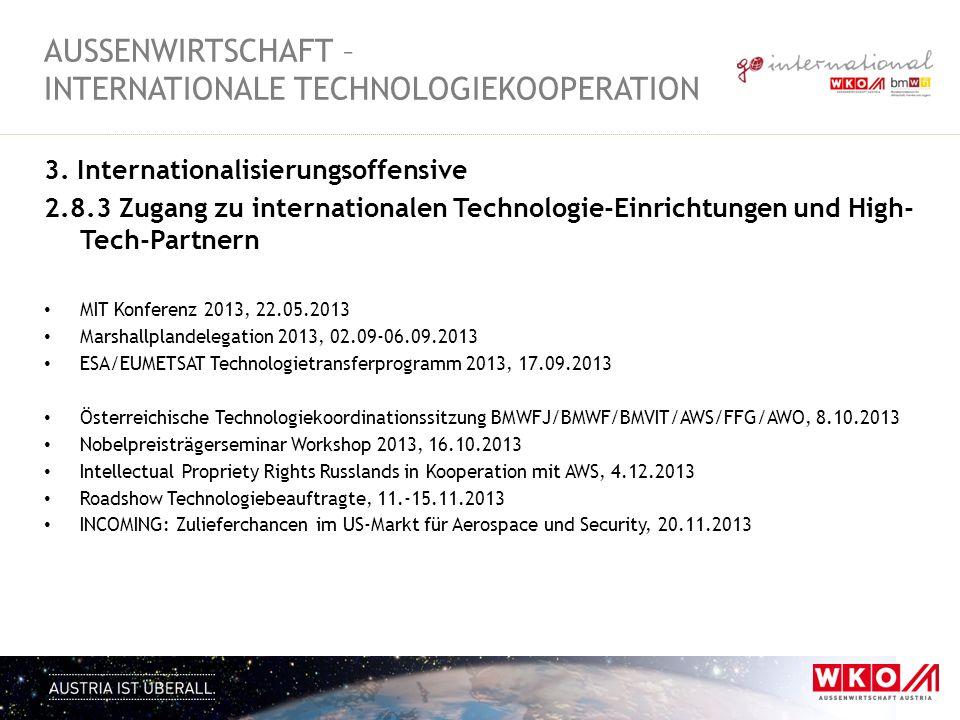 3. Internationalisierungsoffensive 2.8.3 Zugang zu internationalen Technologie-Einrichtungen und High- Tech-Partnern MIT Konferenz 2013, 22.05.2013 Ma