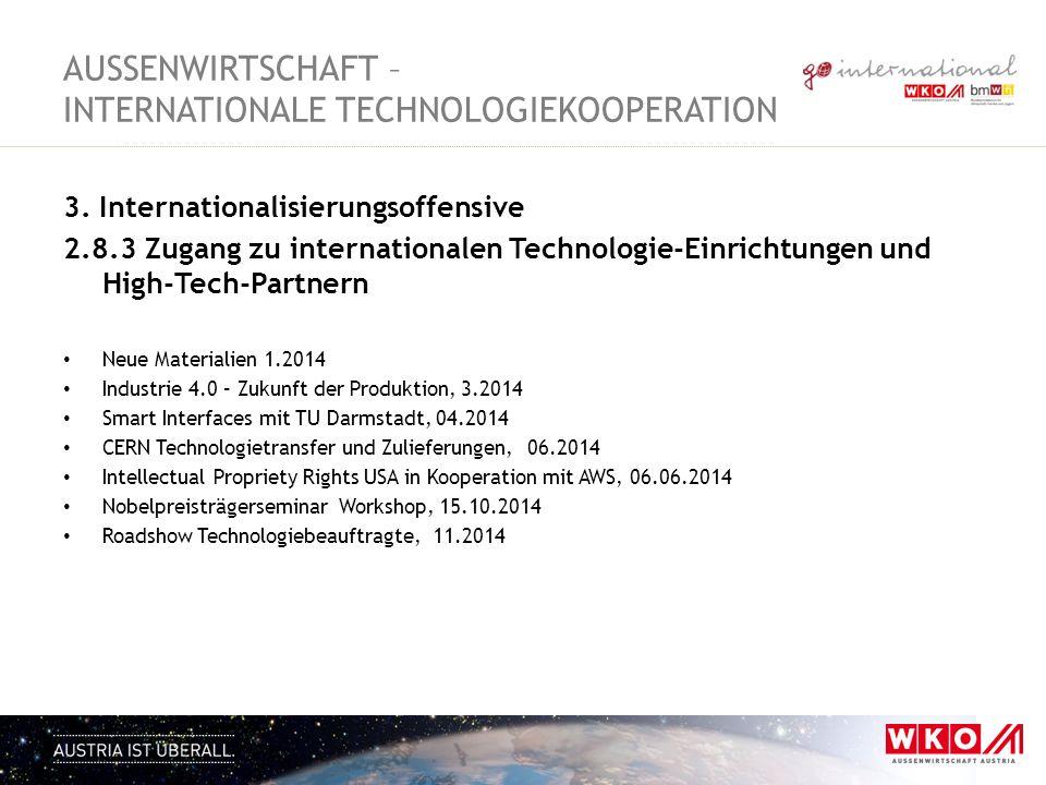 3. Internationalisierungsoffensive 2.8.3 Zugang zu internationalen Technologie-Einrichtungen und High-Tech-Partnern Neue Materialien 1.2014 Industrie