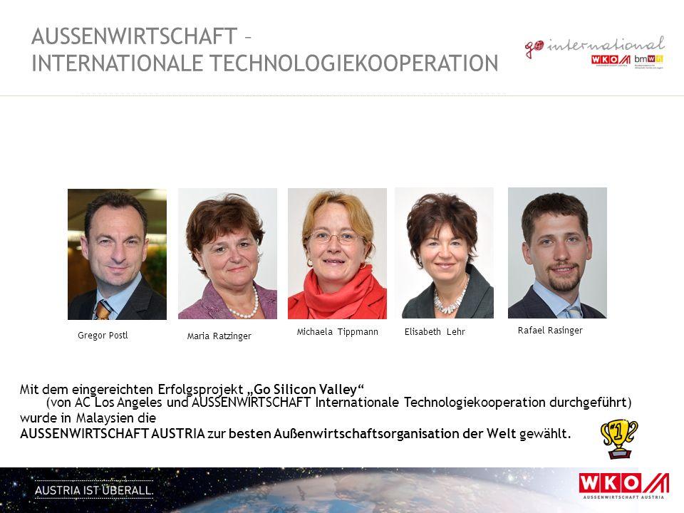 AUSSENWIRTSCHAFT - INTERNATIONALE TECHNOLOGIEKOOPERATION Ziele Förderung der internationalen Vernetzung der österreichischen Wirtschaft Stärkung der österreichischen Wirtschaft durch Vermittlung von internationalen Forschungs- und Technologieprojekten, sowie Geschäftschancen
