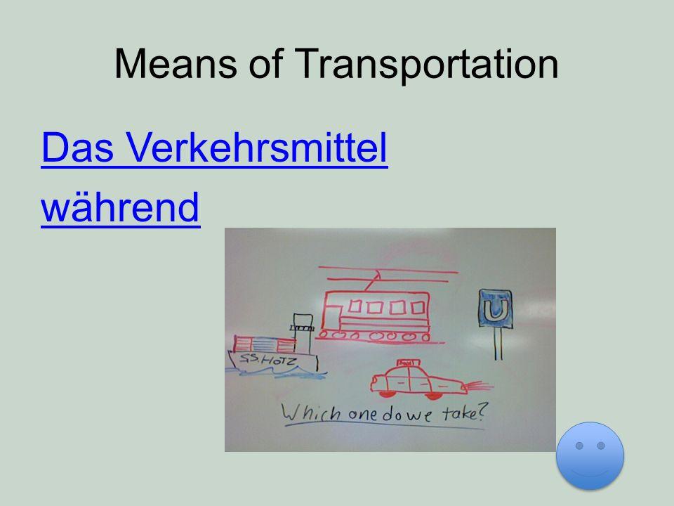 Means of Transportation Das Verkehrsmittel während