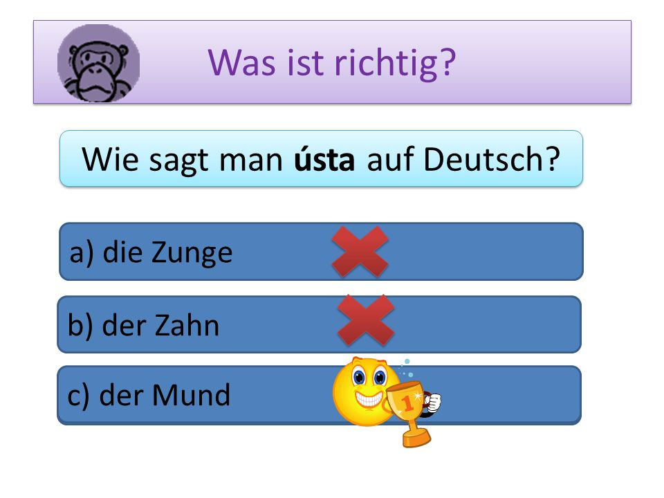 Was ist richtig? Wie sagt man ústa auf Deutsch? a) die Zunge b) der Zahn c) das Bein c) der Mund
