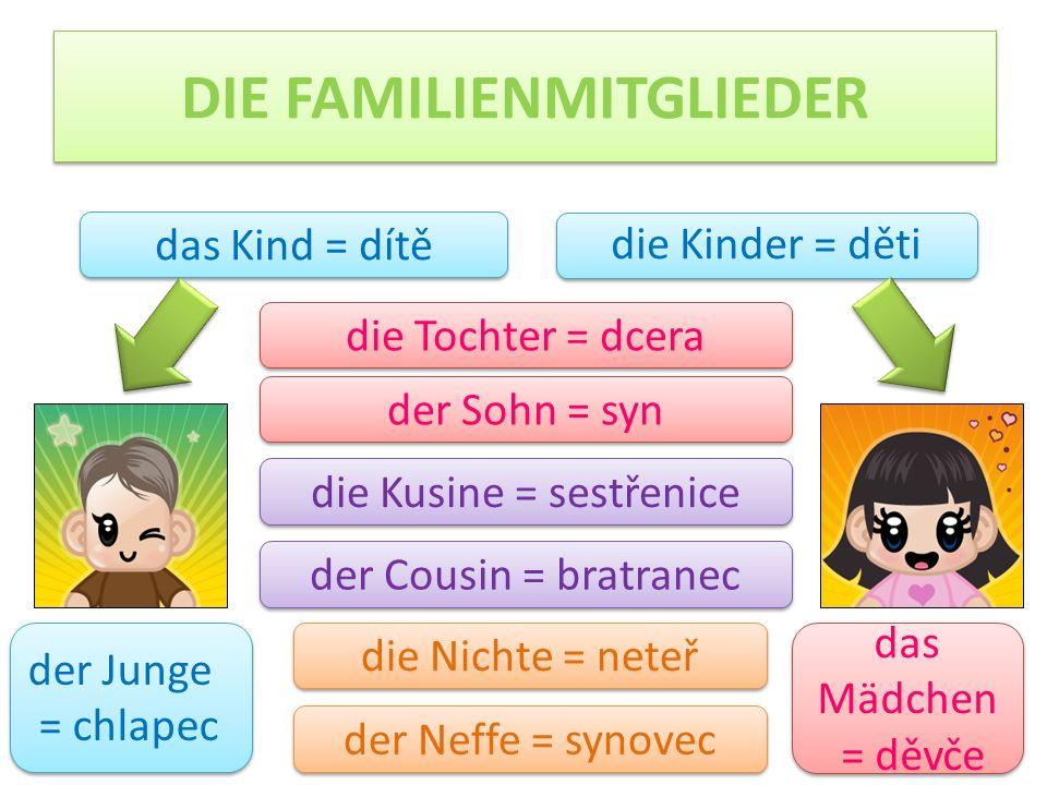 DIE FAMILIENMITGLIEDER die Kinder = děti das Kind = dítě der Sohn = syn die Tochter = dcera die Kusine = sestřenice der Cousin = bratranec die Nichte