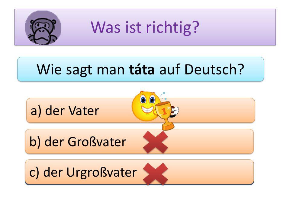 Was ist richtig? Wie sagt man táta auf Deutsch? a) der Vater b) der Großvater c) das Bein c) der Urgroßvater