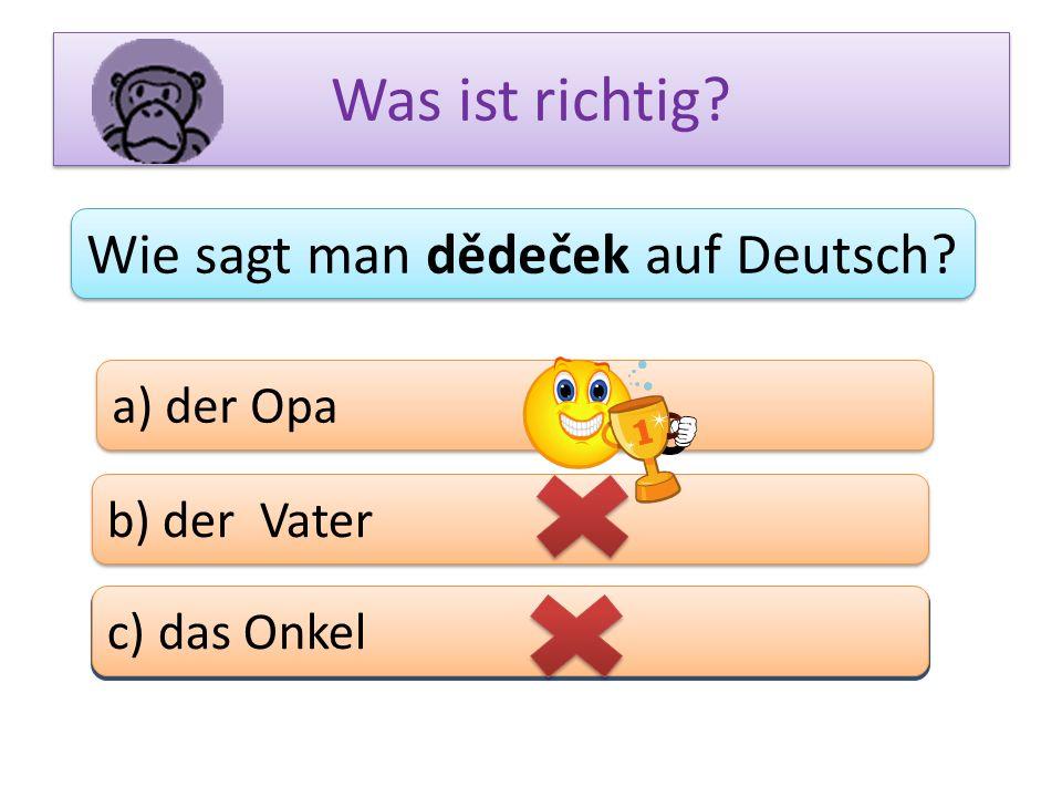 Was ist richtig? Wie sagt man dědeček auf Deutsch? a) der Opa b) der Vater c) das Bein c) das Onkel