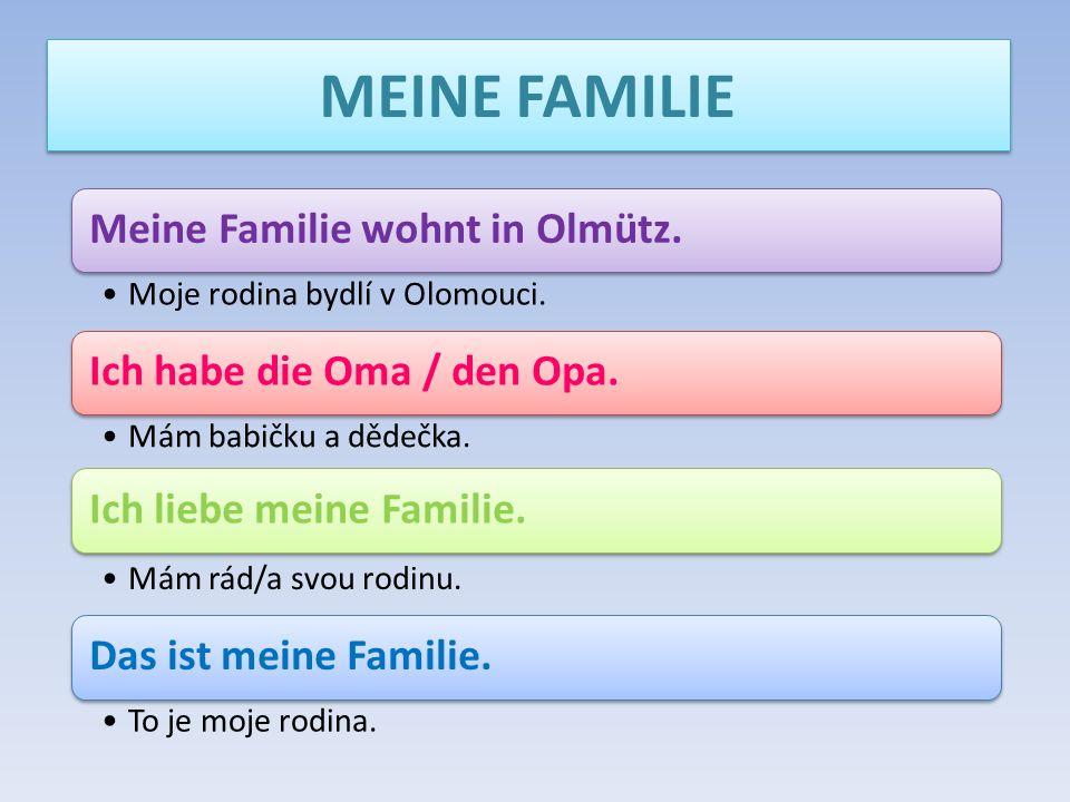 MEINE FAMILIE Meine Familie wohnt in Olmütz. Moje rodina bydlí v Olomouci. Ich habe die Oma / den Opa. Mám babičku a dědečka. Ich liebe meine Familie.