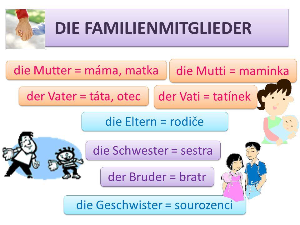 DIE FAMILIENMITGLIEDER der Bruder = bratr die Geschwister = sourozenci die Schwester = sestra die Mutter = máma, matka der Vater = táta, otec der Vati