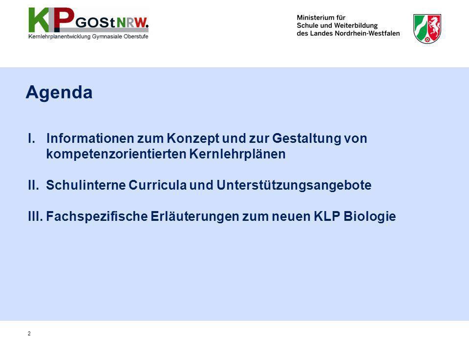 I.Informationen zum Konzept und zur Gestaltung von kompetenzorientierten Kernlehrplänen II. Schulinterne Curricula und Unterstützungsangebote III. Fac