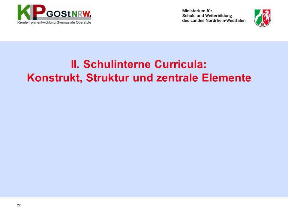 22 II. Schulinterne Curricula: Konstrukt, Struktur und zentrale Elemente 22