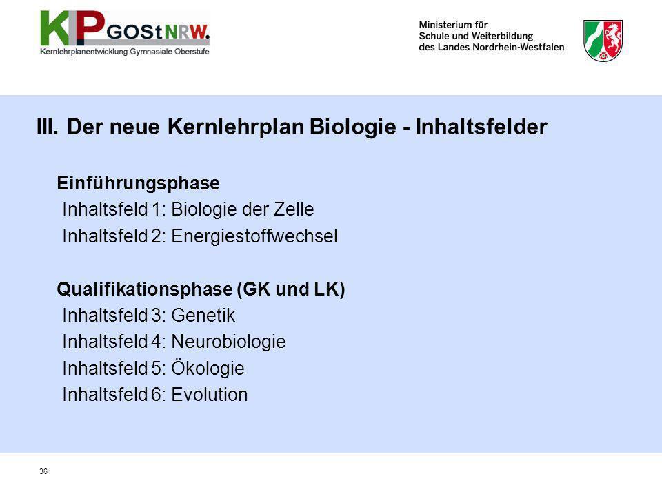 III. Der neue Kernlehrplan Biologie - Inhaltsfelder Einführungsphase Inhaltsfeld 1: Biologie der Zelle Inhaltsfeld 2: Energiestoffwechsel Qualifikatio