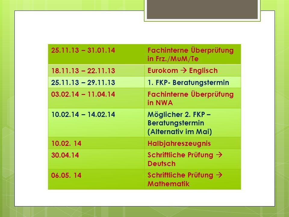 25.11.13 – 31.01.14Fachinterne Überprüfung in Frz./MuM/Te 18.11.13 – 22.11.13Eurokom Englisch 25.11.13 – 29.11.131.