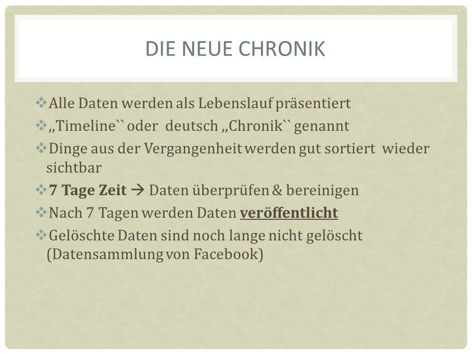 DIE NEUE CHRONIK Alle Daten werden als Lebenslauf präsentiert,,Timeline`` oder deutsch,,Chronik`` genannt Dinge aus der Vergangenheit werden gut sortiert wieder sichtbar 7 Tage Zeit Daten überprüfen & bereinigen Nach 7 Tagen werden Daten veröffentlicht Gelöschte Daten sind noch lange nicht gelöscht (Datensammlung von Facebook)