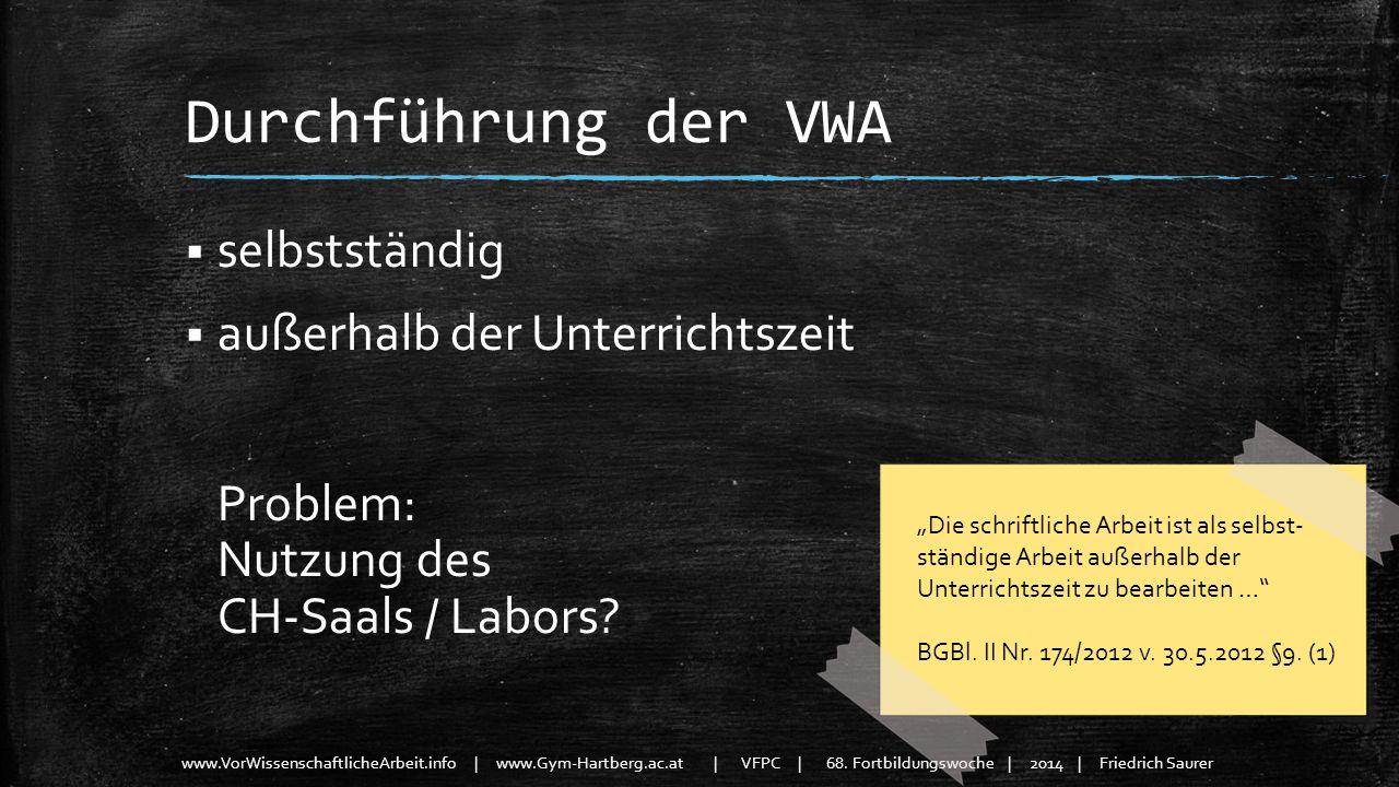www.VorWissenschaftlicheArbeit.info | www.Gym-Hartberg.ac.at | VFPC | 68. Fortbildungswoche | 2014 | Friedrich Saurer Durchführung der VWA selbstständ