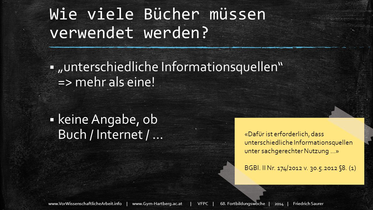 www.VorWissenschaftlicheArbeit.info | www.Gym-Hartberg.ac.at | VFPC | 68. Fortbildungswoche | 2014 | Friedrich Saurer Wie viele Bücher müssen verwende