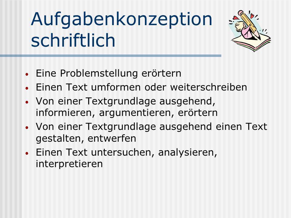 Aufgabenkonzeption schriftlich Schwerpunkt: Umgang mit Texten und Medien, Schreiben, Sprache und Sprachgebrauch Operationen: Erfassen der Aufgabenstel