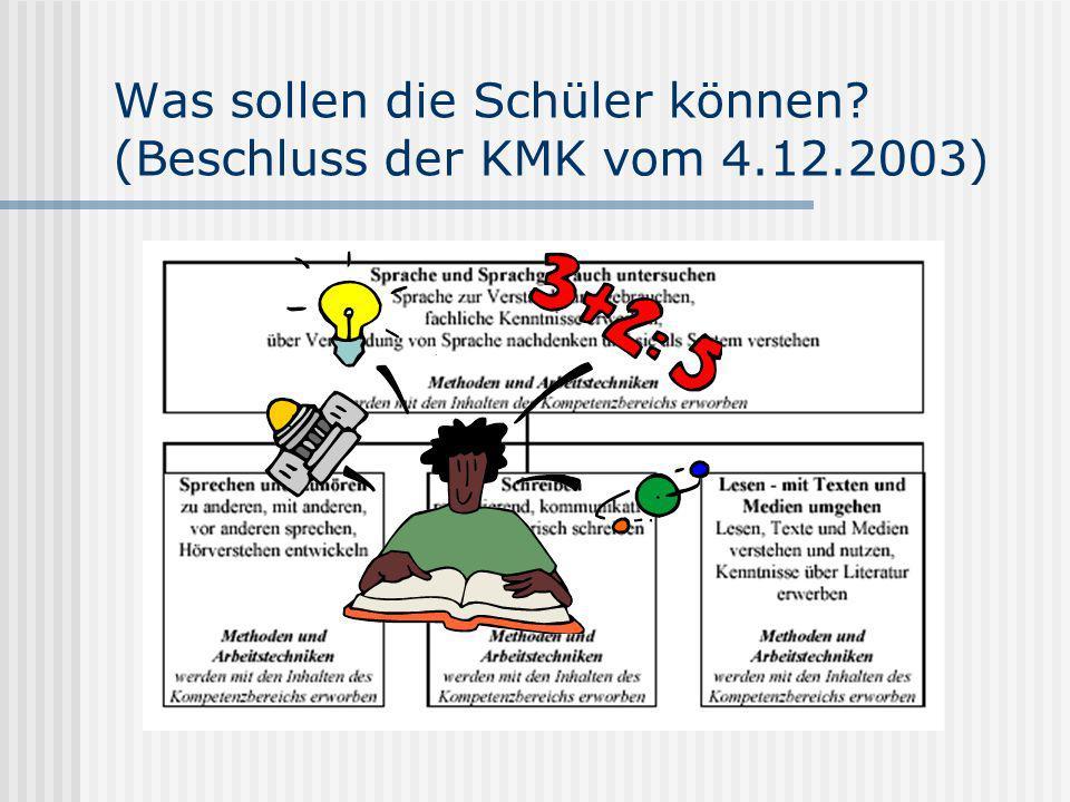 Was sollen die Schüler können? (Beschluss der KMK vom 4.12.2003)