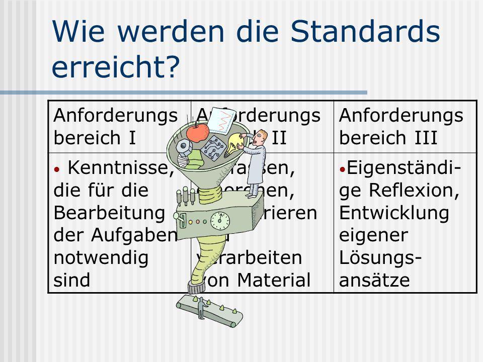 Wie werden diese Standards erreicht? Wie vermittele ich diese Standards, bzw. wie überprüfe ich, ob die Standards von meinen Schülern erreicht worden