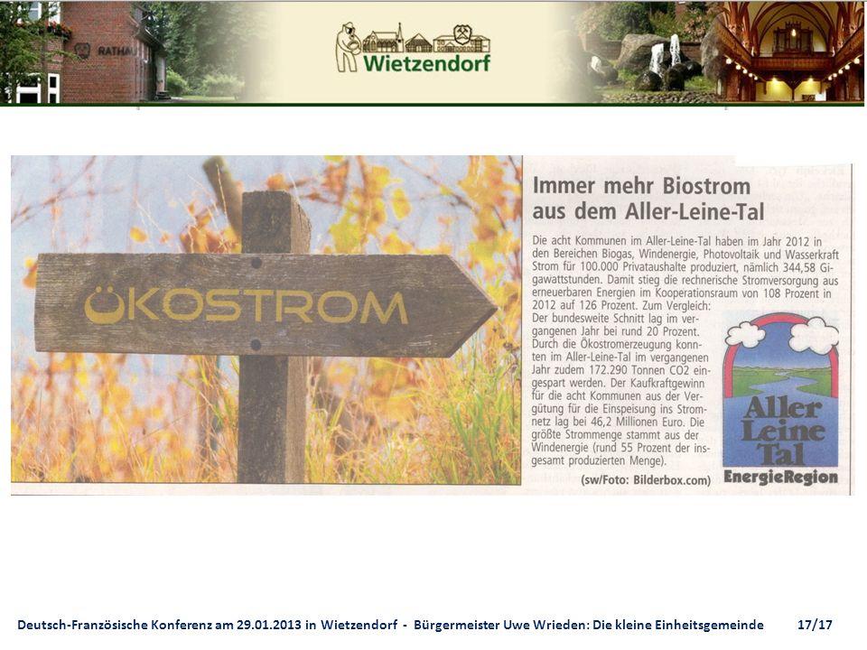 Deutsch-Französische Konferenz am 29.01.2013 in Wietzendorf - Bürgermeister Uwe Wrieden: Die kleine Einheitsgemeinde 17/17