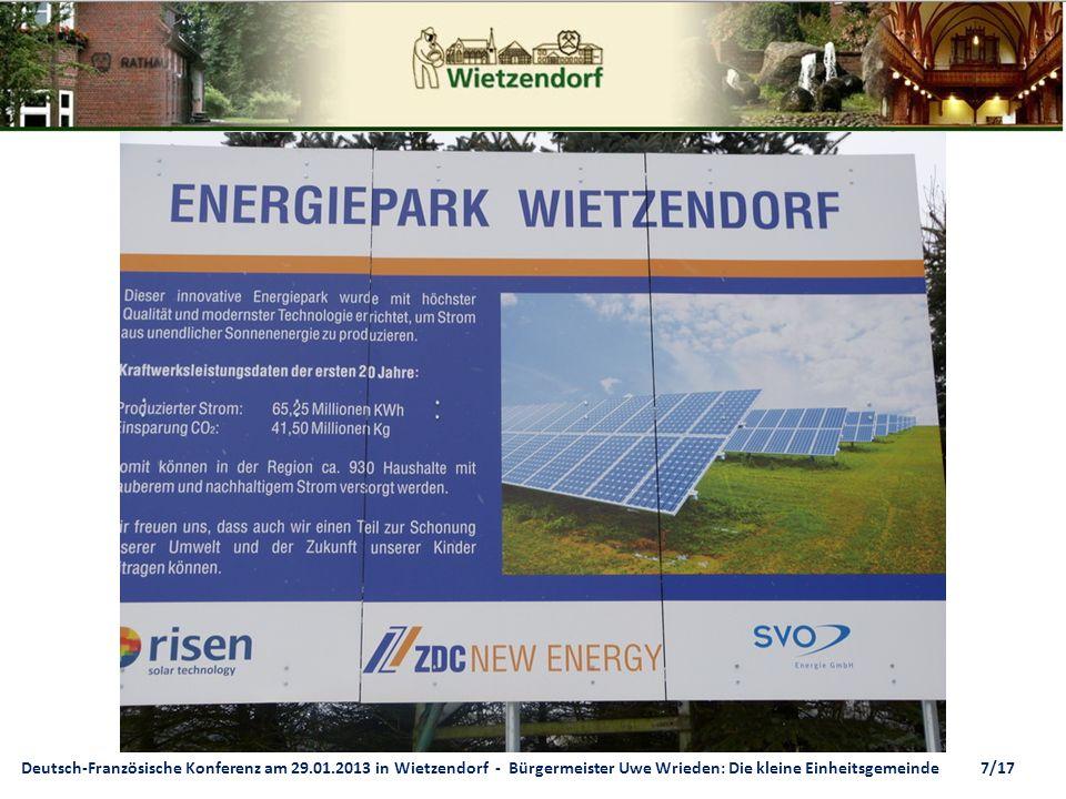 Deutsch-Französische Konferenz am 29.01.2013 in Wietzendorf - Bürgermeister Uwe Wrieden: Die kleine Einheitsgemeinde 7/17