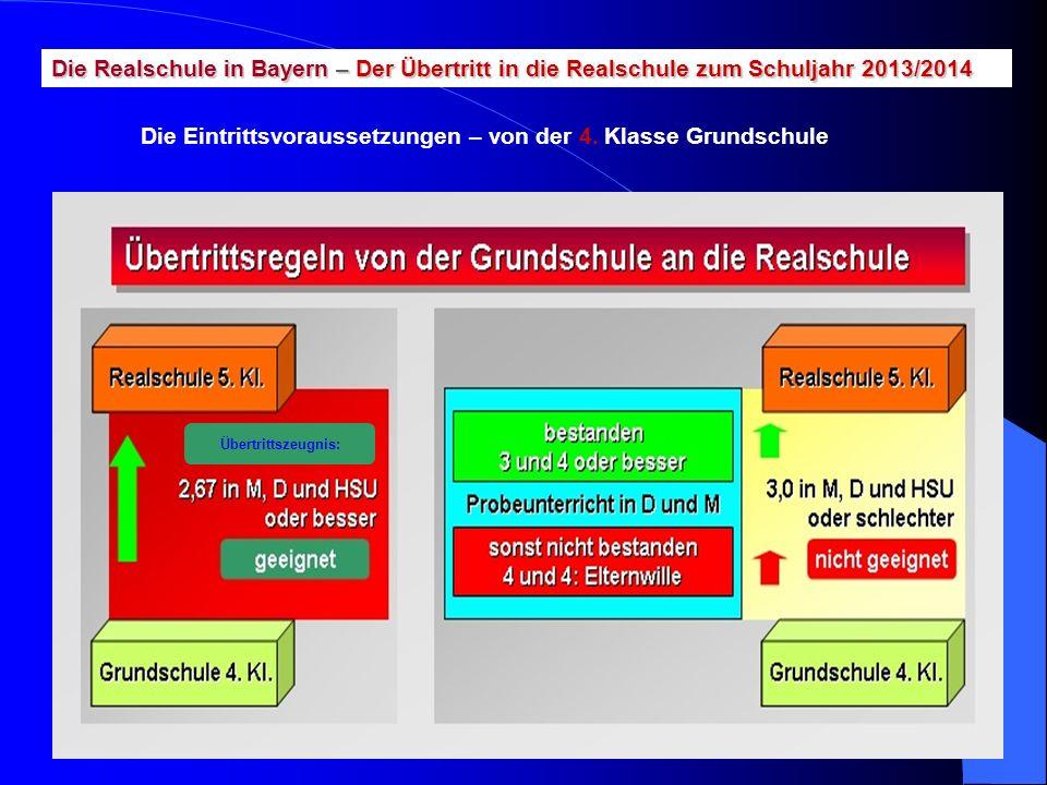 Übertrittszeugnis: Die Realschule in Bayern – Der Übertritt in die Realschule zum Schuljahr 2013/2014 Die Eintrittsvoraussetzungen – von der 4. Klasse