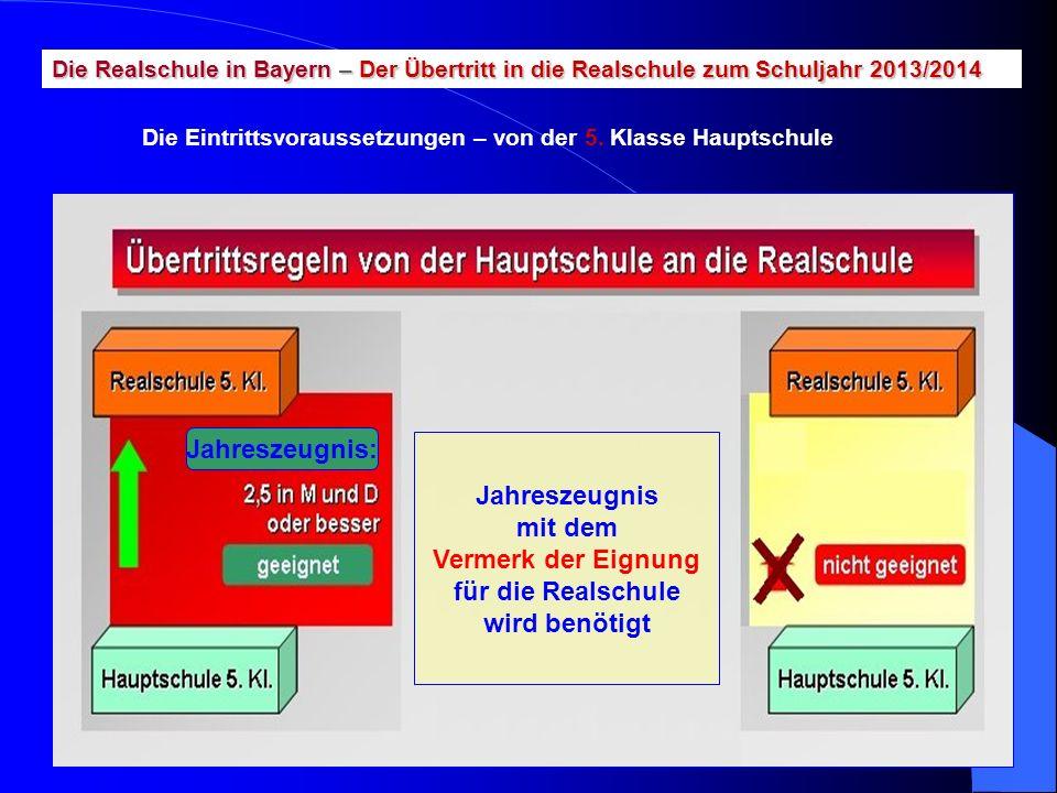 Die Realschule in Bayern – Der Übertritt in die Realschule zum Schuljahr 2013/2014 Die Eintrittsvoraussetzungen – von der 5. Klasse Hauptschule Jahres