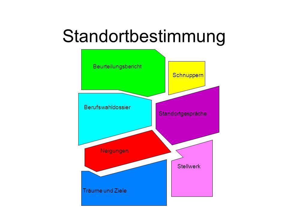 Standortbestimmung Beurteilungsbericht Berufswahldossier Schnuppern Standortgespräche Neigungen Stellwerk Träume und Ziele
