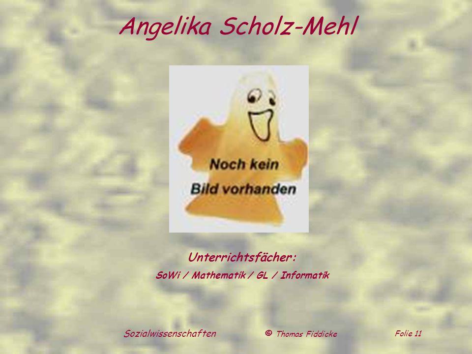 © Thomas Fiddicke Folie 11 Sozialwissenschaften Unterrichtsfächer: SoWi / Mathematik / GL / Informatik Angelika Scholz-Mehl