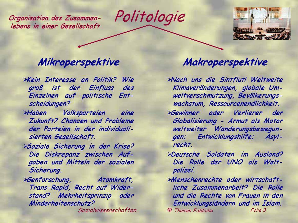 © Thomas Fiddicke Folie 4 Sozialwissenschaften Soziologie Mikroperspektive Wo soll es langgehen.