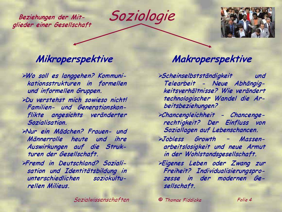 © Thomas Fiddicke Folie 4 Sozialwissenschaften Soziologie Mikroperspektive Wo soll es langgehen? Kommuni- kationsstrukturen in formellen und informell