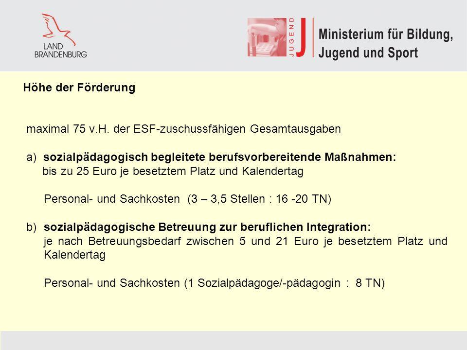Höhe der Förderung maximal 75 v.H. der ESF-zuschussfähigen Gesamtausgaben a) sozialpädagogisch begleitete berufsvorbereitende Maßnahmen: bis zu 25 Eur