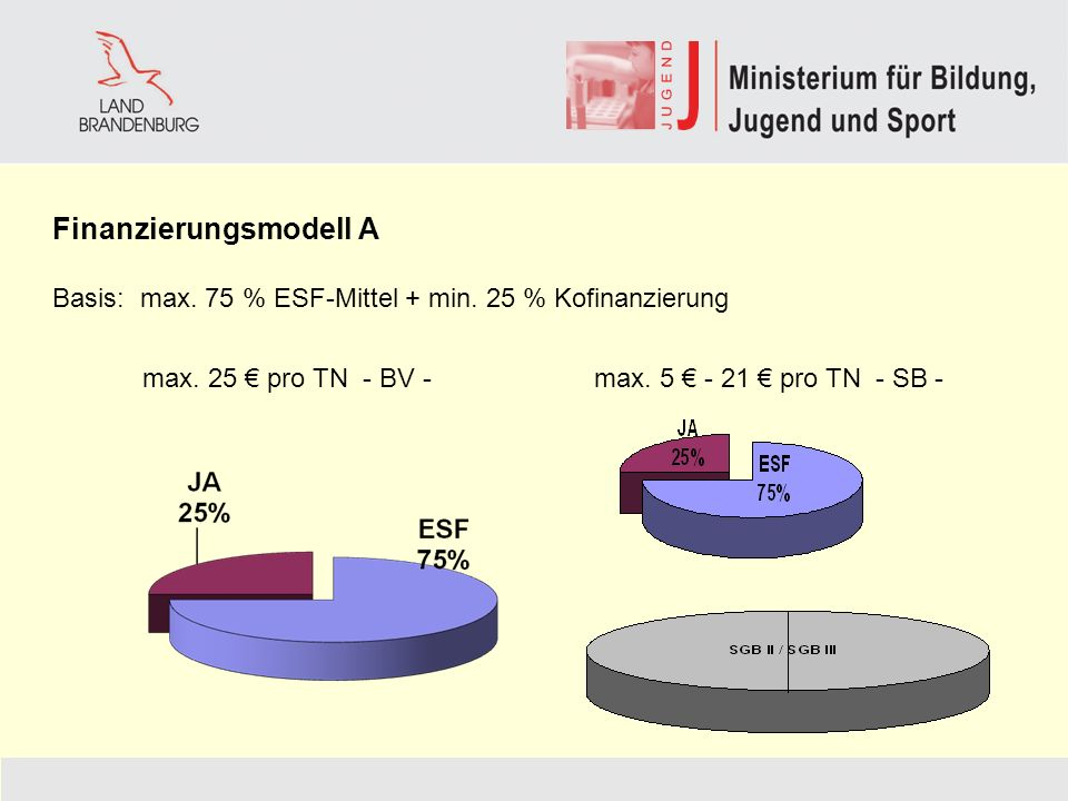 Finanzierungsmodell A Basis: max.75 % ESF-Mittel + min.
