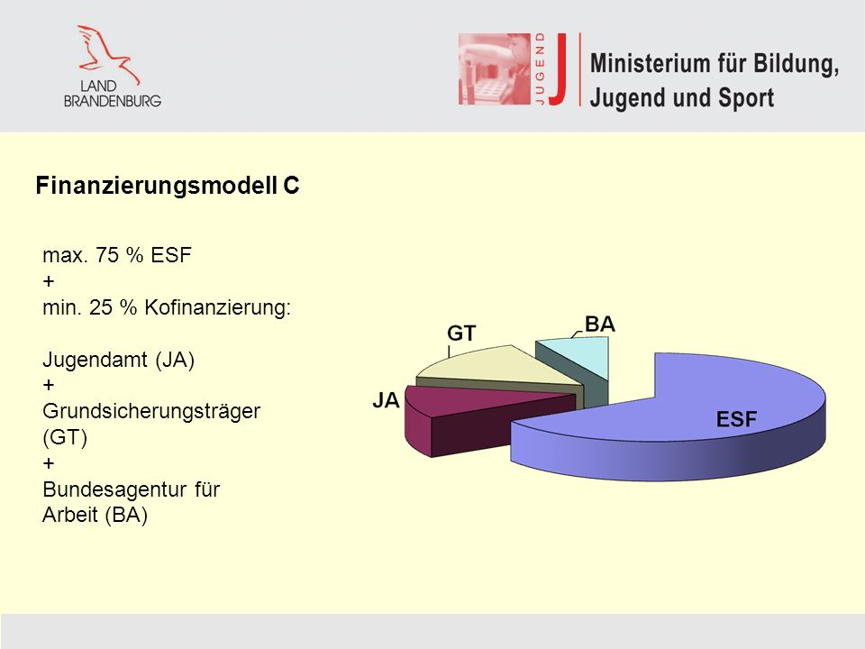 Finanzierungsmodell C max.75 % ESF + min.
