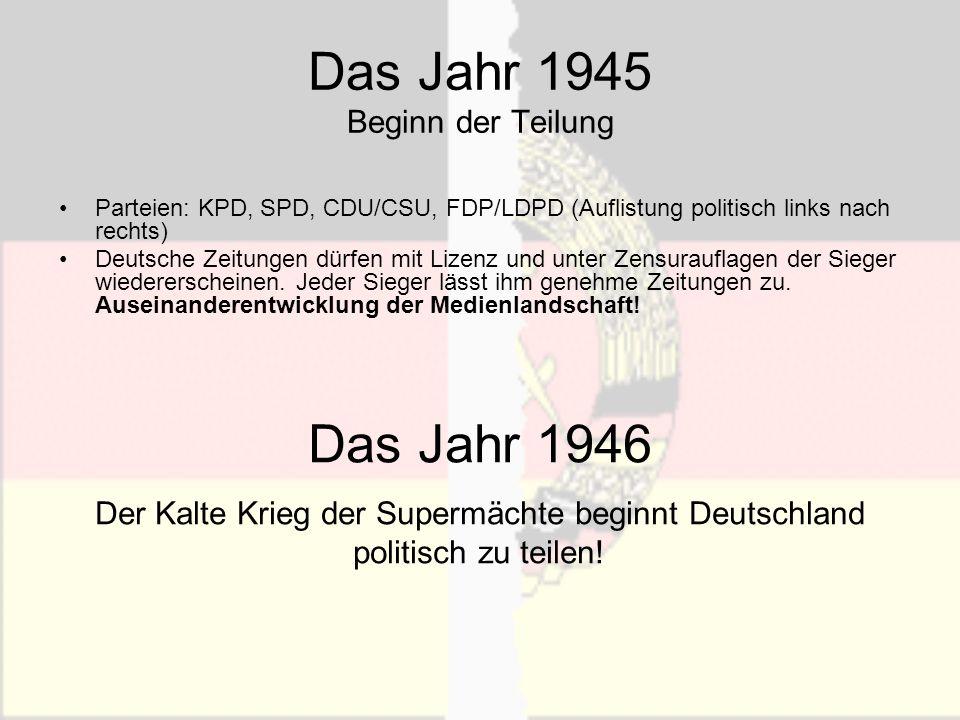 Das Jahr 1945 Beginn der Teilung Parteien: KPD, SPD, CDU/CSU, FDP/LDPD (Auflistung politisch links nach rechts) Deutsche Zeitungen dürfen mit Lizenz u