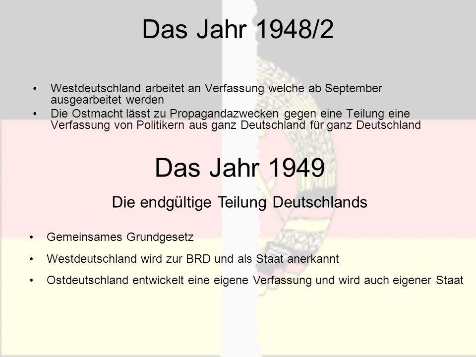 Der Kalte Krieg Konfrontation zwischen Ost und West schritt fort, schließlich wollte keines der beiden Lager mehr einen Schritt zurück machen: Westen befürchtete, die Sowjetunion bemächtigt sich vereinigtem Deutschland, Sowjetunion hatte Angst zur Oder zurückgedrängt zu werden.