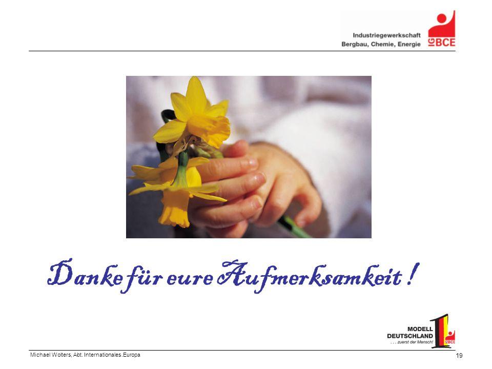 Michael Wolters, Abt. Internationales.Europa 19 Danke für eure Aufmerksamkeit !