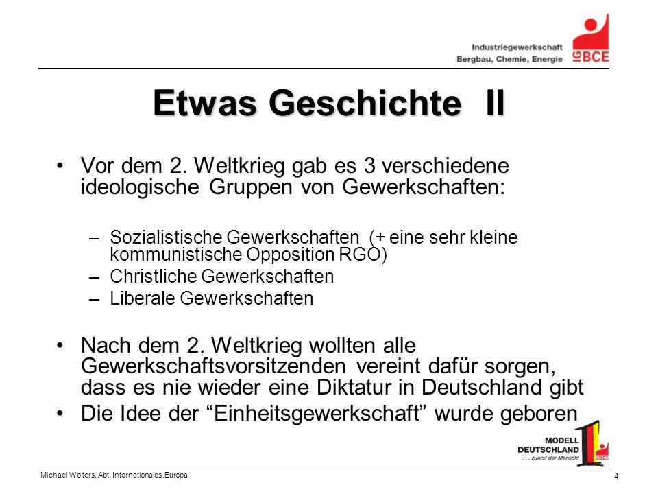 Michael Wolters, Abt. Internationales.Europa 4 Etwas Geschichte II Vor dem 2. Weltkrieg gab es 3 verschiedene ideologische Gruppen von Gewerkschaften: