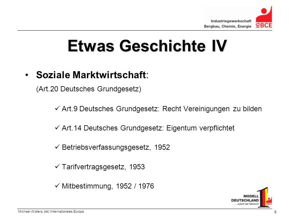 Michael Wolters, Abt. Internationales.Europa 6 Etwas Geschichte IV Soziale Marktwirtschaft: (Art.20 Deutsches Grundgesetz) Art.9 Deutsches Grundgesetz