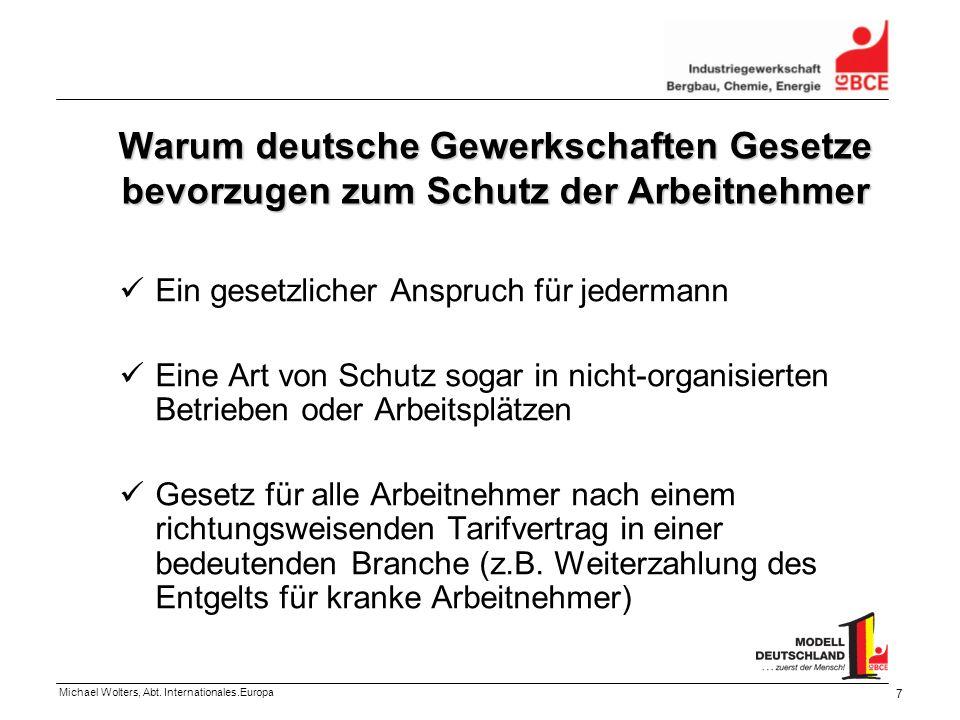 Michael Wolters, Abt. Internationales.Europa 7 Warum deutsche Gewerkschaften Gesetze bevorzugen zum Schutz der Arbeitnehmer Ein gesetzlicher Anspruch