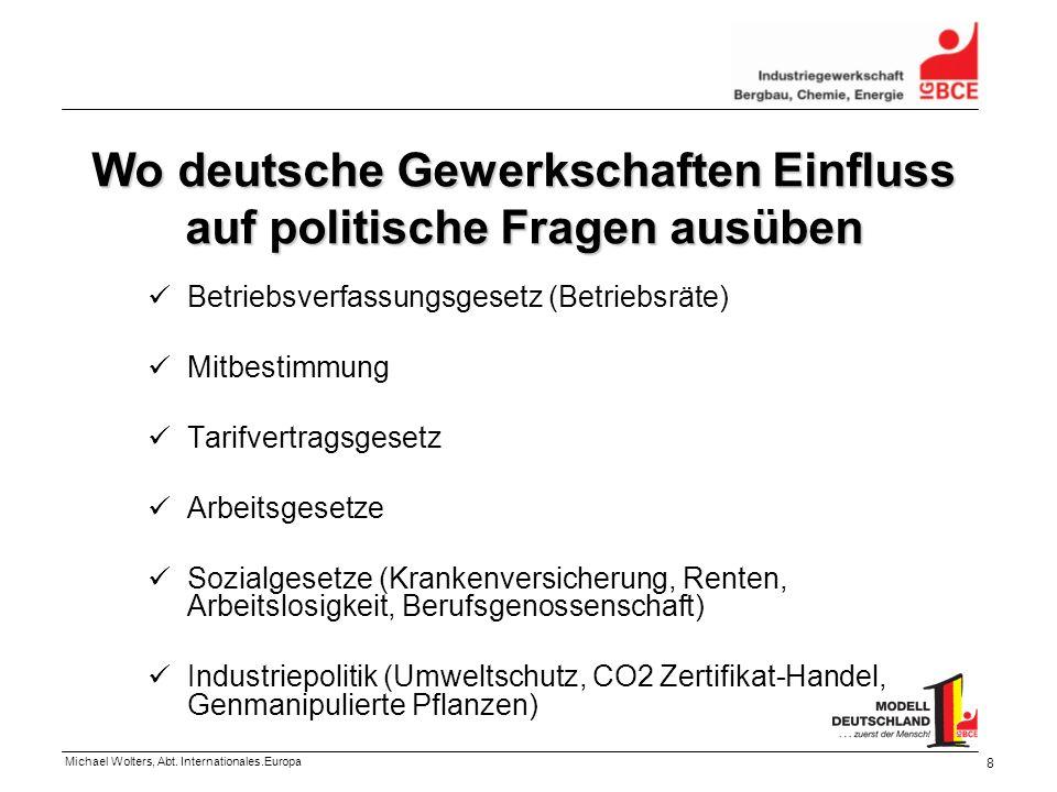 Michael Wolters, Abt. Internationales.Europa 8 Wo deutsche Gewerkschaften Einfluss auf politische Fragen ausüben Betriebsverfassungsgesetz (Betriebsrä