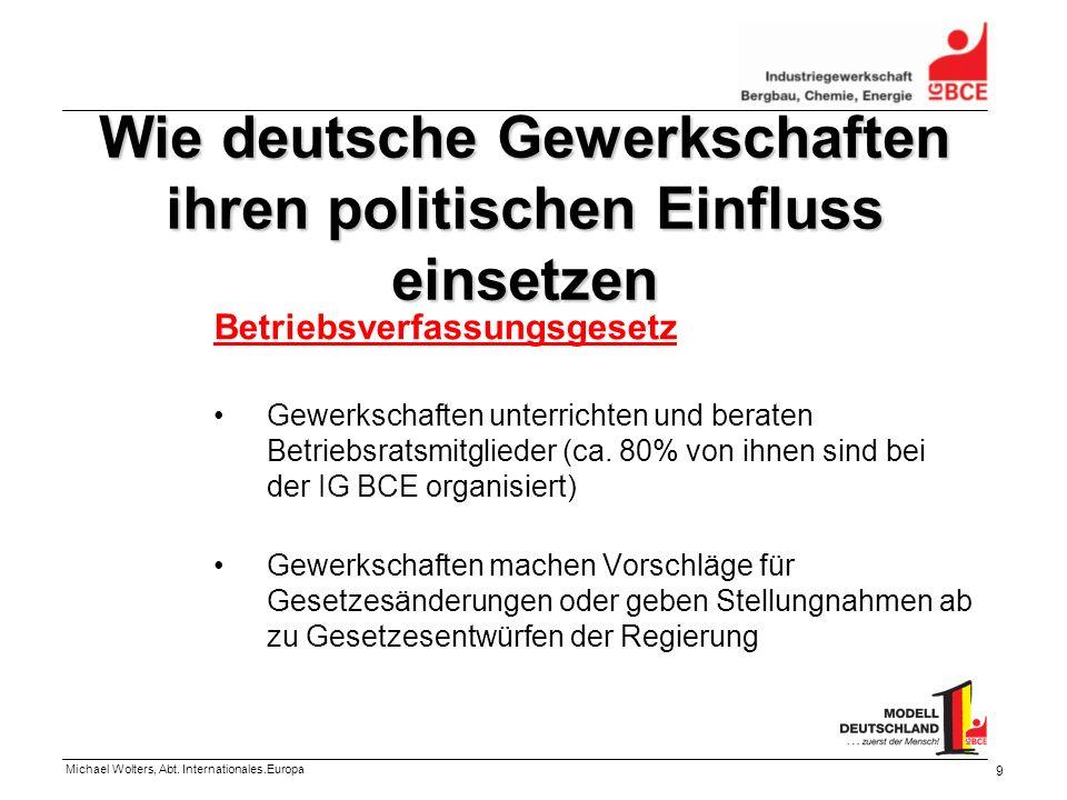 Michael Wolters, Abt. Internationales.Europa 9 Wie deutsche Gewerkschaften ihren politischen Einfluss einsetzen Betriebsverfassungsgesetz Gewerkschaft