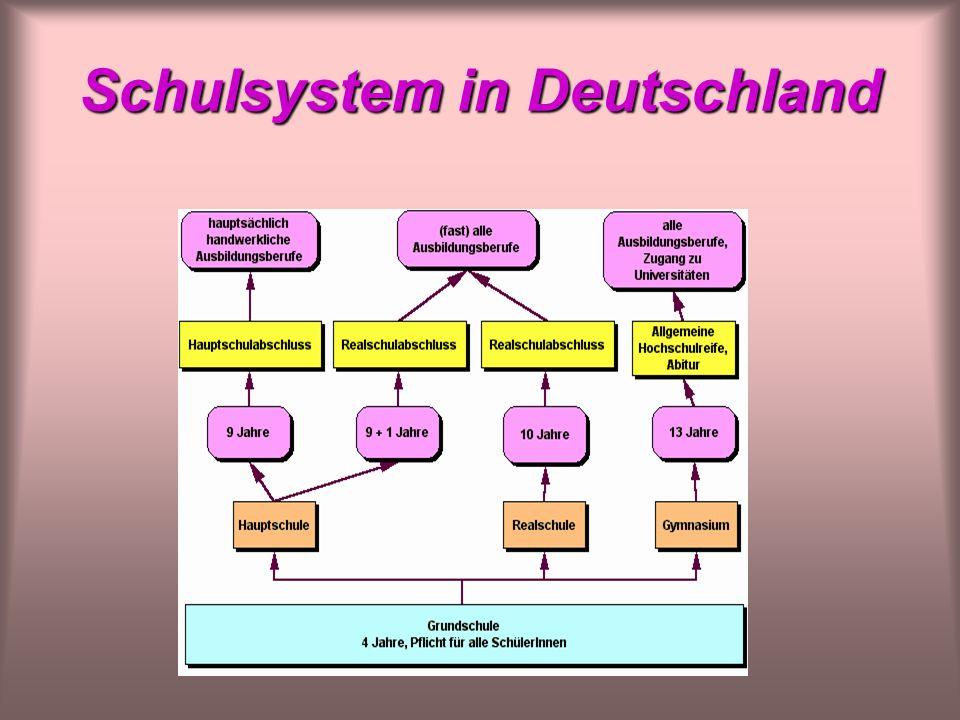 Schulsystem in Deutschland Das Schulsystem in Deutschland Infos