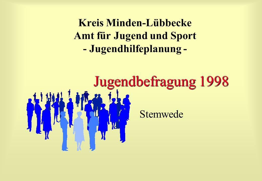 Kreis Minden-Lübbecke Amt für Jugend und Sport - Jugendhilfeplanung - Jugendbefragung 1998 Stemwede