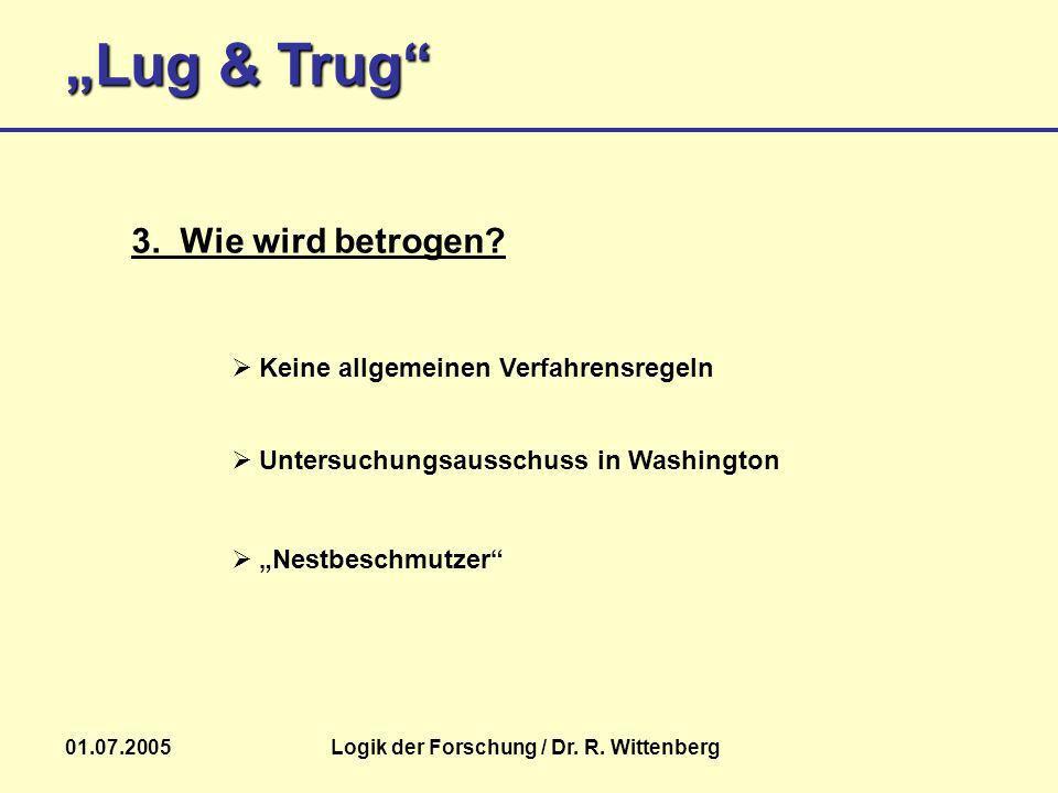 Lug & Trug 01.07.2005Logik der Forschung / Dr. R. Wittenberg 3. Wie wird betrogen? Keine allgemeinen Verfahrensregeln Nestbeschmutzer Untersuchungsaus