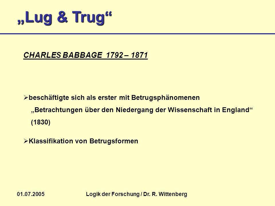 Lug & Trug 01.07.2005Logik der Forschung / Dr. R. Wittenberg beschäftigte sich als erster mit Betrugsphänomenen Betrachtungen über den Niedergang der