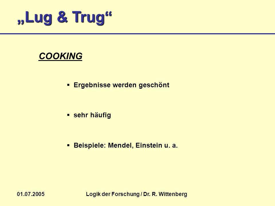 Lug & Trug 01.07.2005Logik der Forschung / Dr. R. Wittenberg Beispiele: Mendel, Einstein u. a. COOKING Ergebnisse werden geschönt sehr häufig