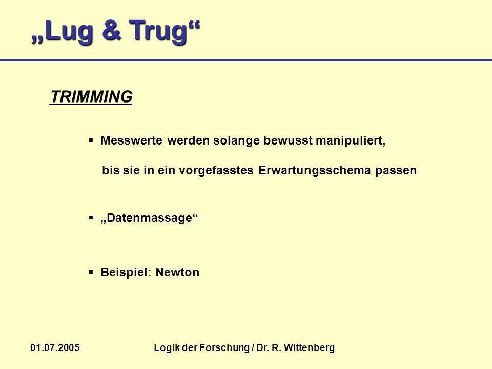 Lug & Trug 01.07.2005Logik der Forschung / Dr. R. Wittenberg Beispiel: Newton TRIMMING Messwerte werden solange bewusst manipuliert, bis sie in ein vo