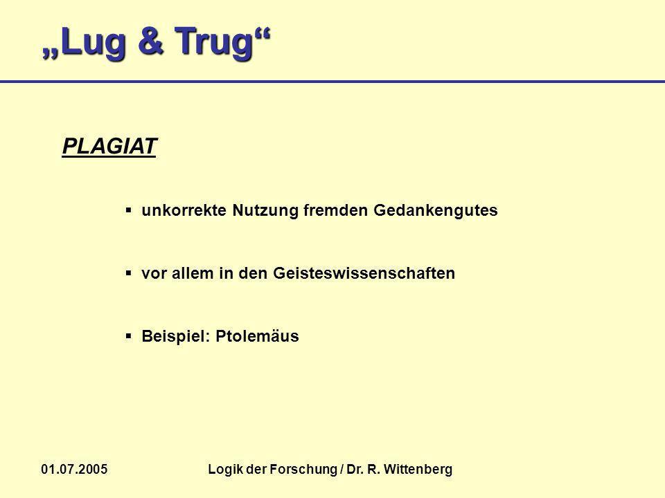 Lug & Trug 01.07.2005Logik der Forschung / Dr. R. Wittenberg Beispiel: Ptolemäus PLAGIAT unkorrekte Nutzung fremden Gedankengutes vor allem in den Gei