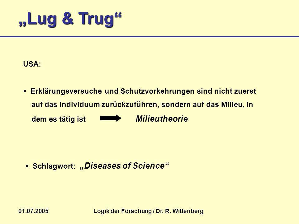 Lug & Trug 01.07.2005Logik der Forschung / Dr. R. Wittenberg USA: Erklärungsversuche und Schutzvorkehrungen sind nicht zuerst auf das Individuum zurüc